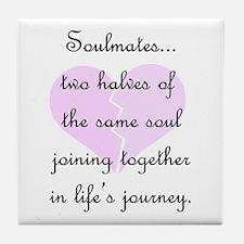 Soulmates (faded heart design) Tile Coaster