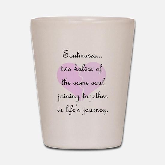 Soulmates (faded heart design) Shot Glass