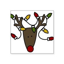 """Holiday Reindeer Square Sticker 3"""" x 3"""""""
