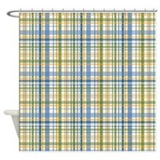 Blue Green Yellow Plaid Print Shower Curtain