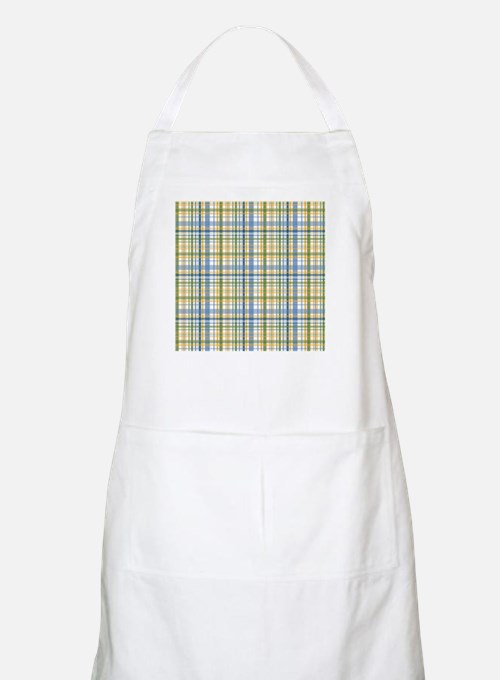 Blue Green Yellow Plaid Print Apron