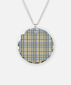 Blue Green Yellow Plaid Print Necklace