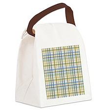 Blue Green Yellow Plaid Print Canvas Lunch Bag