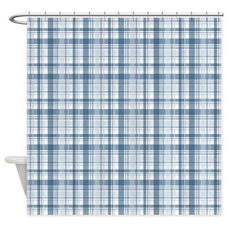 baby boy blue plaid print shower curtain by printedlittletreasures