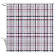 Patriotic Plaid Print Shower Curtain