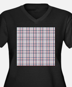 Patriotic Plaid Print Women's Plus Size V-Neck Dar