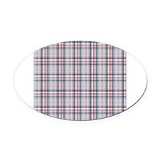 Patriotic Plaid Print Oval Car Magnet