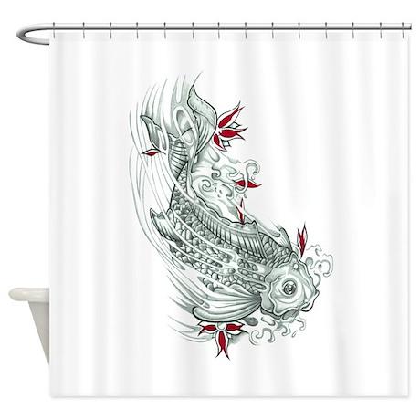Koi fish shower curtain by triptic for Koi fish bathroom decorations