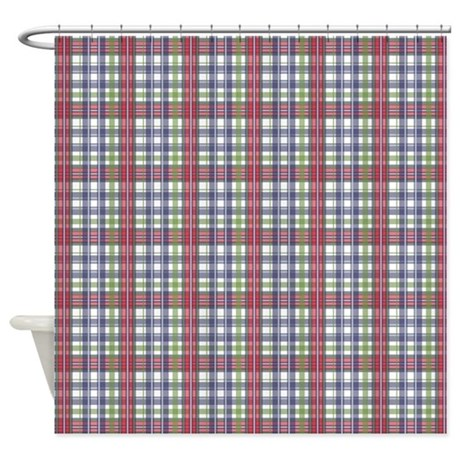 red purple green plaid print shower curtain by printedlittletreasures
