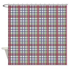 Red Purple Green Plaid Print Shower Curtain