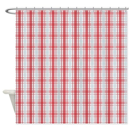 red baby blue plaid print shower curtain by printedlittletreasures