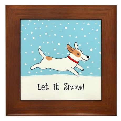 Jack Russell Let it Snow Framed Tile