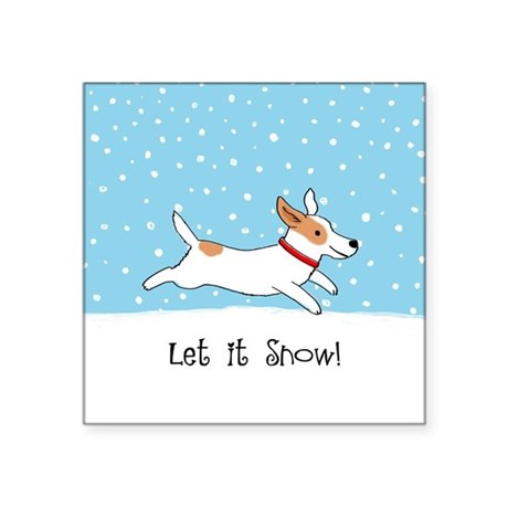"""Jack Russell Let it Snow Square Sticker 3"""" x 3"""""""