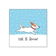 "Jack Russell Let it Snow Square Sticker 3"" x 3"""