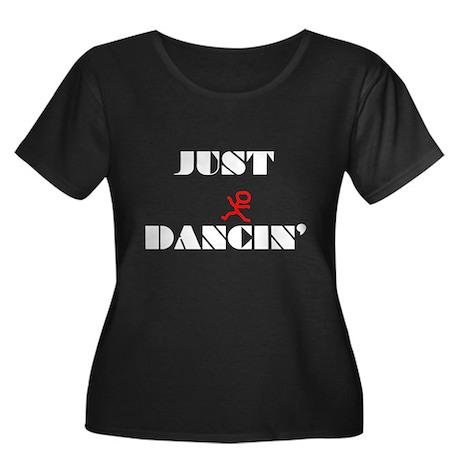 Just Dancin Women's Plus Size Scoop Neck Dark T-Sh