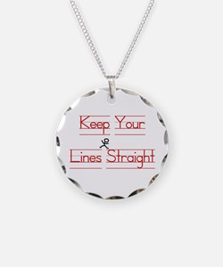 Keep Your Lines Straight Necklace Circle Charm