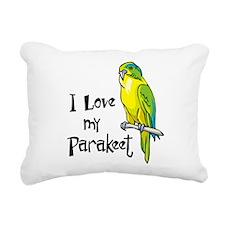 I Love my Parakeet Rectangular Canvas Pillow