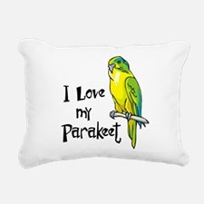 I Love my Parakeet Rectangular Canvas Pillow