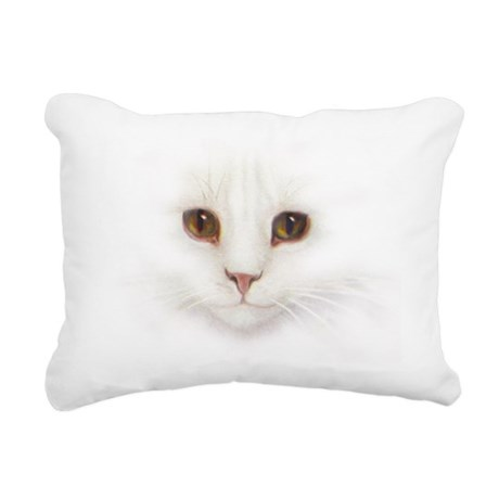 White Cat Face Rectangular Canvas Pillow