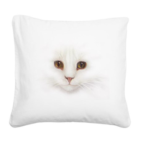 White Cat Face Square Canvas Pillow