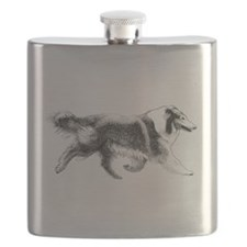 Rough Running Collie Flask