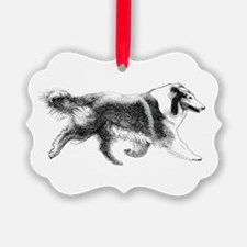 Rough Running Collie Ornament
