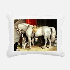 Vintage White Horse Rectangular Canvas Pillow