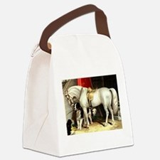 Vintage White Horse Canvas Lunch Bag