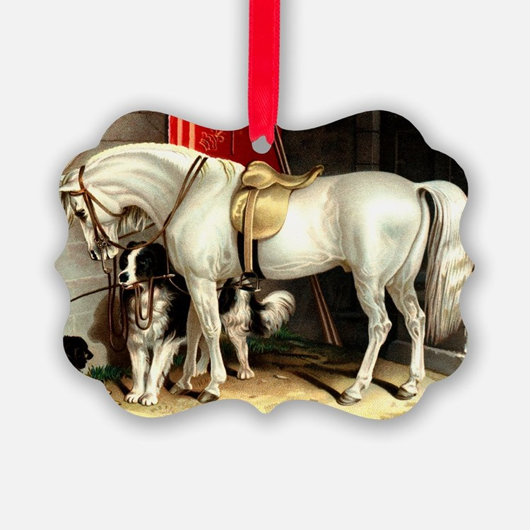 Vintage White Horse Ornament