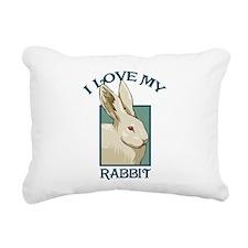 I Love my Rabbit Rectangular Canvas Pillow