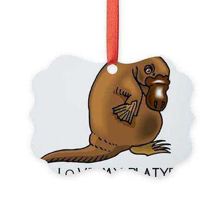 I Love my Platypus Picture Ornament