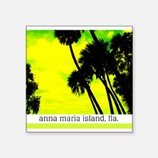 """Palms against yellow sky Square Sticker 3"""" x 3"""""""