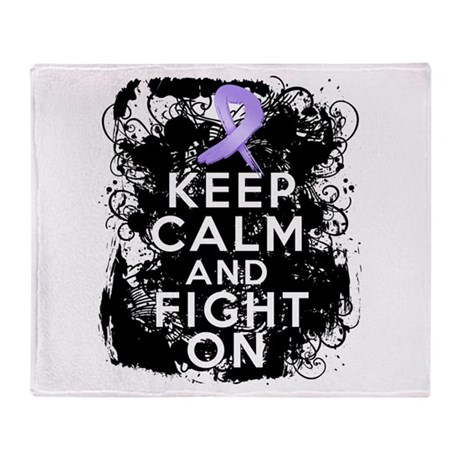 General Cancer Keep Calm Fight On Throw Blanket