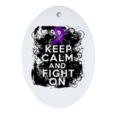 Epilepsy Keep Calm Fight On Ornament (Oval)