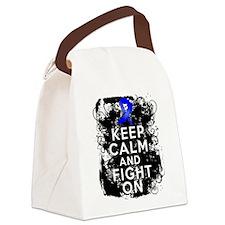 Colon Cancer Keep Calm Fight On Canvas Lunch Bag