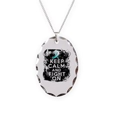 Cervical Cancer Keep Calm Fight On Necklace Oval C