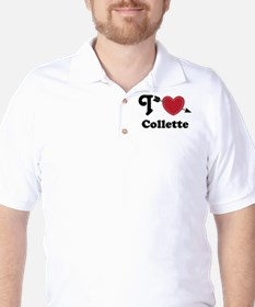 Personalized Couples Heart Golf Shirt