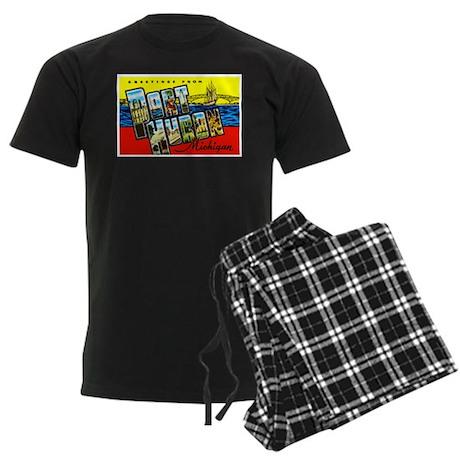 Port Huron Michigan Greetings Men's Dark Pajamas