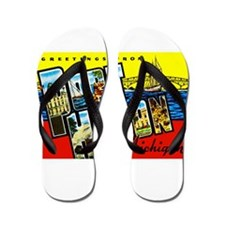Port Huron Michigan Greetings Flip Flops