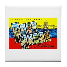 Port Huron Michigan Greetings Tile Coaster