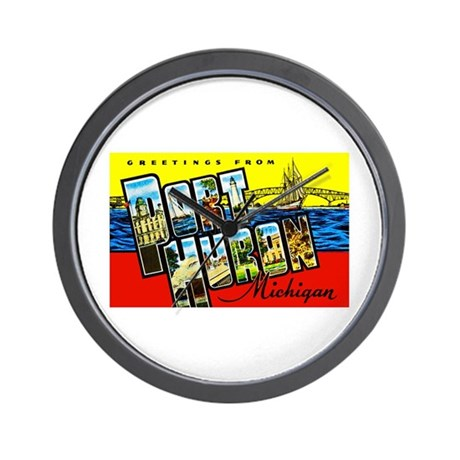 Port Huron Michigan Greetings Wall Clock
