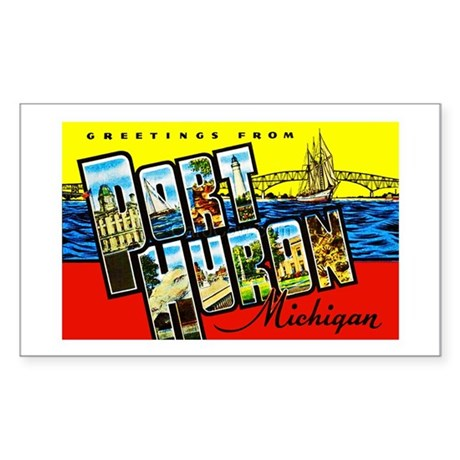 Port Huron Michigan Greetings Sticker (Rectangle)