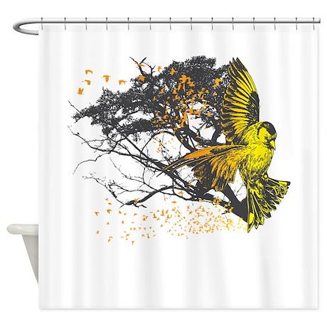 attackofthegoldfinch2.png Shower Curtain