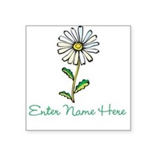 Personalized Daisy Square Sticker 3