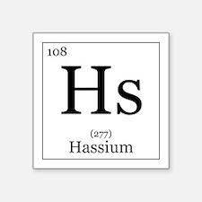 "Elements - 108 Hassium Square Sticker 3"" x 3"""