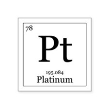 "Elements - 78 Platinum Square Sticker 3"" x 3"""