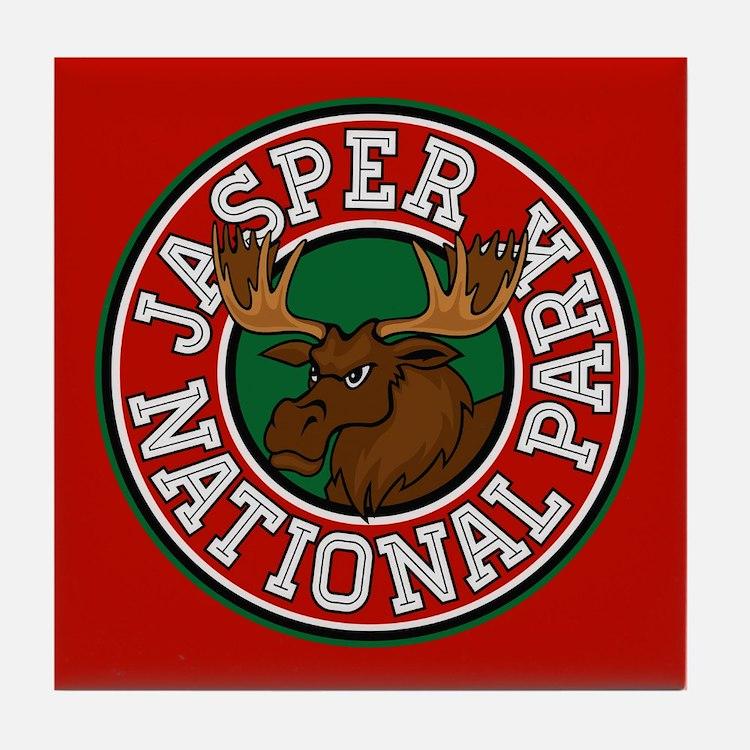 Jasper Moose Circle Tile Coaster