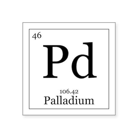 "Elements - 46 Palladium Square Sticker 3"" x 3"""