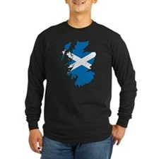 Scotland Flag Map Long Sleeve T-Shirt