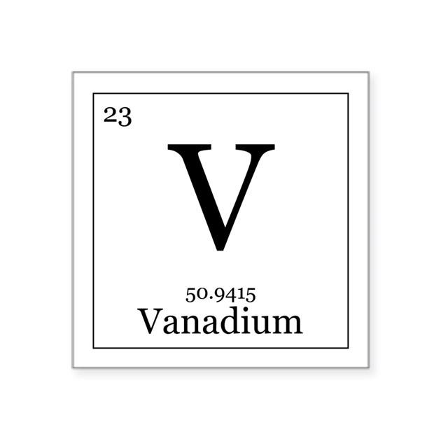 Elements 23 vanadium square sticker 3 x 3 by all the rage - Vanadium symbol periodic table ...